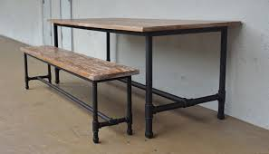industrial kitchen table furniture. Chairs Industrial Design Dining Table With Matching Bench Kitchen Lights Furniture