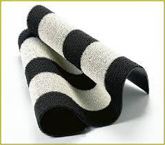black and white striped bath rug