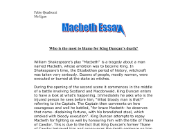 macbeth who is the most to blame for king duncan s death gcse  document image preview