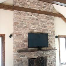diy stone fireplace image of stacked