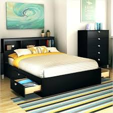 Full Size Bed Frame With Shelves Queen Size Bed With Storage ...