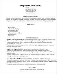 Resume Templates: Order Processor Resume