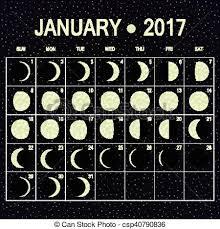Vector Moon Phases Calendar For January 2017