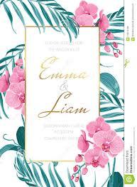 Wedding Invitations Templates Purple Wedding Invitation Template Orchid Tropical Leaves Stock Vector