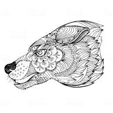 Inkt Hand Getrokken Doodle Wolf Op Witte Achtergrond Kleurplaat