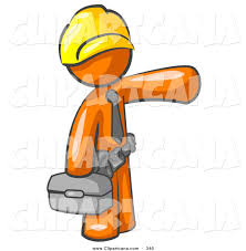 toolbox with tools clipart. vector clip art of a busy orange man, construction worker, handyman or electrician toolbox with tools clipart