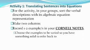 section 2 1 writing equations algebra 1 by