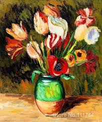 pierre auguste renoir paintings of tulips in a vase modern impressionism art high quality hand painted