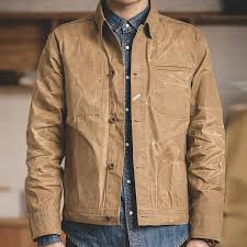 Light Jacket For Work Us 38 99 Maden Mens Waxed Canvas Cotton Jacket Military Light Spring Work Jacket Khaki In Jackets From Mens Clothing On Aliexpress