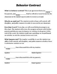 Elementary Discipline Chart Free Behavior Contract And Progress Chart By Reagan Edwards