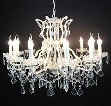 large cream 12 arm branch french shallow cut glass chandelier