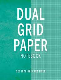 Dual Grid Paper Notebook Green Blue Composition Notebook