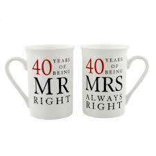 40th ruby wedding anniversary mr mrs mug gift set 40 years of being mr right mrs always right