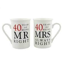 40th ruby wedding anniversary mr mrs mug gift set 40 years of being mr right mrs always right