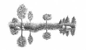 water reflection drawing. how to draw lake or sea with pencils water reflection drawing g