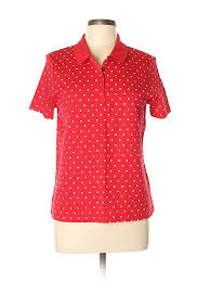 Details About Studio Works Women Red Short Sleeve Polo Lg Petite