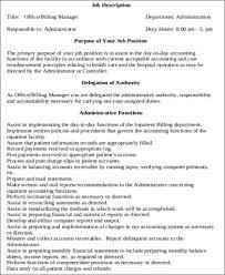Medical Office Billing Manager Job Description Medical Administrative Assistant Job Description Sample 7