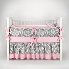 bedding sets by sofia bedding damask gray pink baby bedding 5pc crib