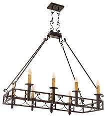 mission forge rectangular chandelier bronze finish