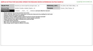 Extractor Machine Operator Resume Resumes Templates
