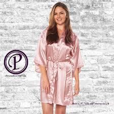 Light Pink Kimono Robe Light Pink Satin Kimono Bridesmaid Robe Monogrammed Robes