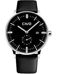 amazon co uk under £25 watches civo men s simple design black leather band wrist watch mens classic fashion dress analogue quartz wrist watches 30m waterproof