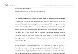 international relations essay university social studies marked  document image preview