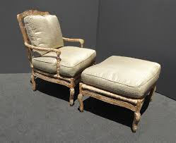 French Ottoman vintage french country carved wood rye accent chair ottoman w down 4605 by guidejewelry.us