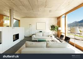 Stock Photo Beautiful Modern House In Cement Interiors View From The Living  Room