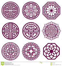Korean Ornament Asian Traditional Vector Symbols Bathroom Pattern