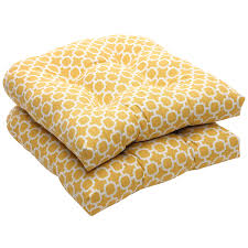Outdoor Yellow and White Geometric Wicker Seat Cushions Set of 2