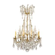 louis xvi style crystal bronze chandelier with geometric chain links and 4 crystal spires france ca 1880 william word fine antiques