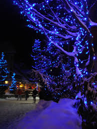 Blue White Outdoor Christmas Lights Blue Christmas Whistler Village Christmas Lights