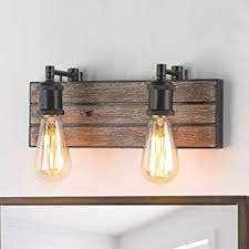 Log Barn Vanity Lights Wall Sconce In Rustic Wood And Oil Rubbed Metal Water Pipe Finish Bathroom Fixture With Adjustable Sockets Over Mirrors Amazon Com