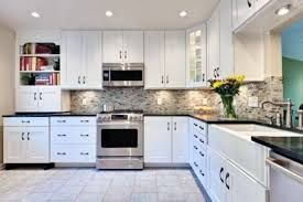 kitchen modern white kitchens black ceramic tile backsplash beautiful clear glass flower vase dark brown