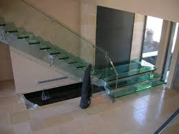 Fabulous Stainless Steel Handrail With Glass Staircase Also Neutral Ceramic  Floor Tiled In Modern House Designs
