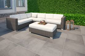 subtle pattern on the surface of these tiles gives them a modern look that suits contemporary patios and terraces