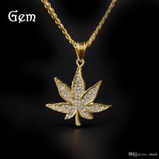 golden maple leaf pendant men s diamond marble leaf pendant stainless steel maple leaf hip hop jewelry necklace
