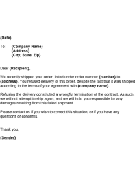 Wrongful Delivery Refusal Template