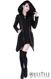 black gothic winter coat with pockets huge hood jacket assassin coat