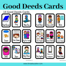 Good Deed Chart Ilma Education Printable Good Deeds Cards For Kids Plus
