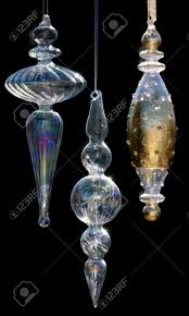 Hand blown glass Christmas ornaments with iridescence and gold leaf Stock  Photo - 19552531