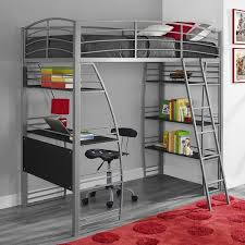 metal loft bed with desk and shelf