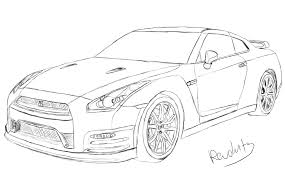 Draw Nissan Gtr Nissan Gtr Drawing By Revolut3 Traditional Art