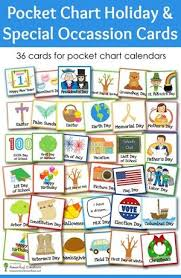 Calendar Pocket Chart Set Pocket Chart Holiday And Special Occasion Calendar Cards