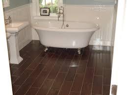 appealing faux wood look tile floor for bathroom flooring design