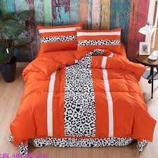 luxury y black white and flame orange leopard print animal themed jungle safari boys twin full queen size bedding sets