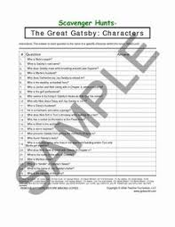 the great gatsby chapter poetry and imagery activity  great gatsby the scavenger hunts set of 4