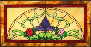 garden stained glass transom window