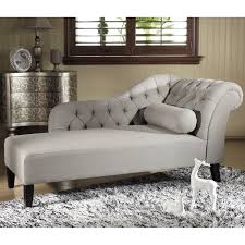 Modern Chaise Lounge Chairs Living Room Baxton Studio Aphrodite Tufted Putty Gray Linen Modern Chaise